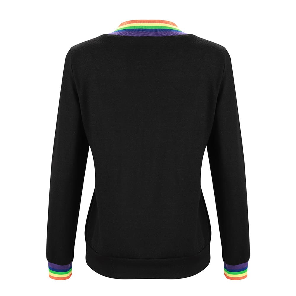 Fashion Women Autumn Long Sleeve Tops Ladies Casual Rainbow Printed Crew Neck Blouse Baggy Tops Outwear Streetwear