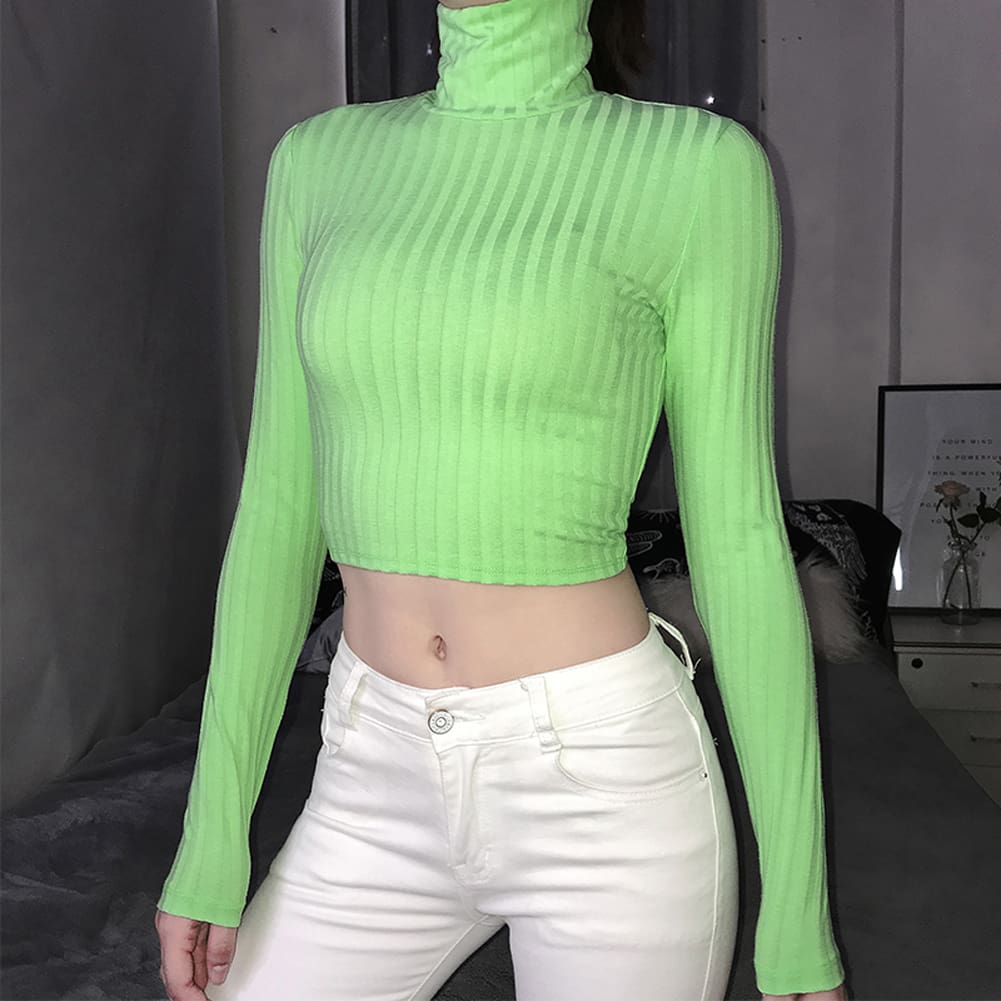 Fashion Trend Women High Collar Crop Tops Ladies Slim Fit Long Sleeve Backless Stylish Autumn T-shirts Tees