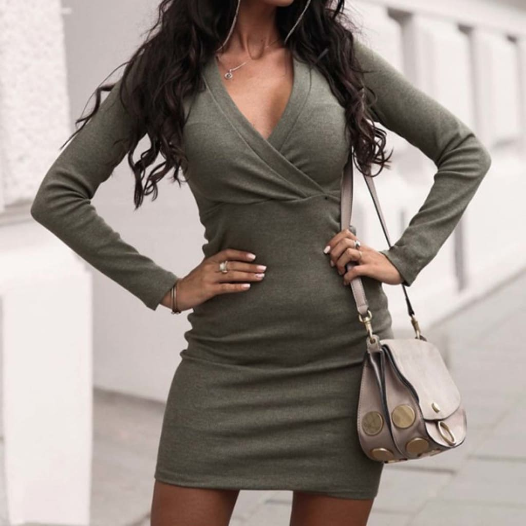 Fashion Women Autumn Winter Long Sleeve Bodycon Mini Dresses Sexy Ladies Casual V Neck Jumper Party Dress