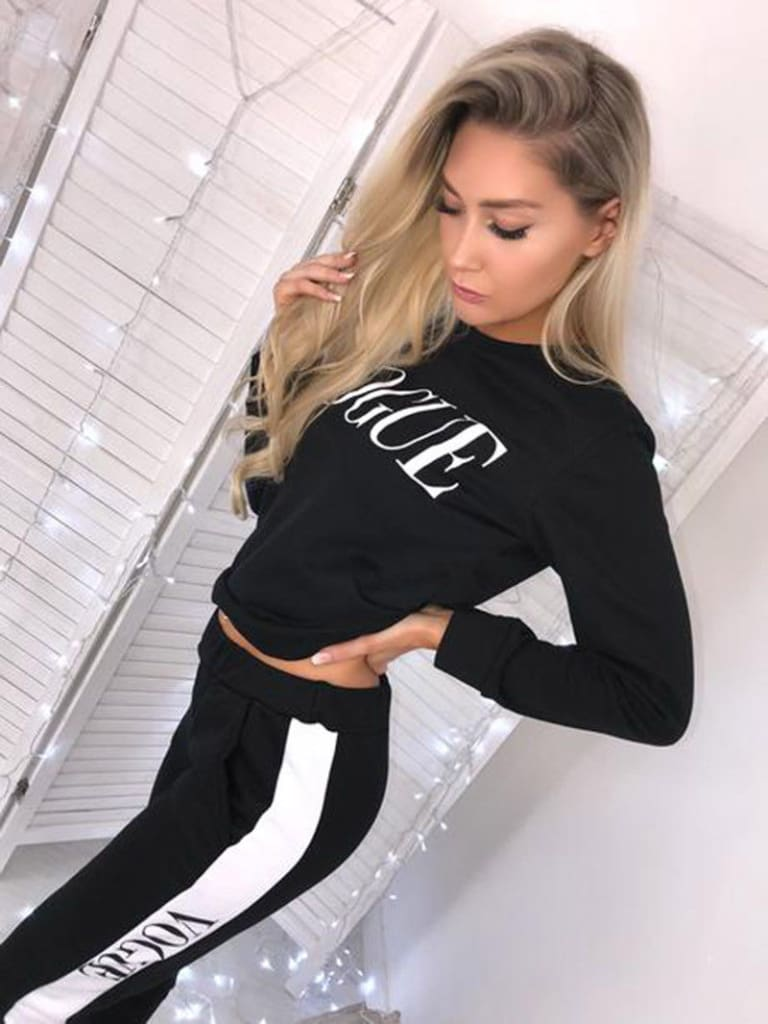 Women Sweatshirts Ladies Casual VOGUE Print Slouch Pullover Jumper Daily Tops