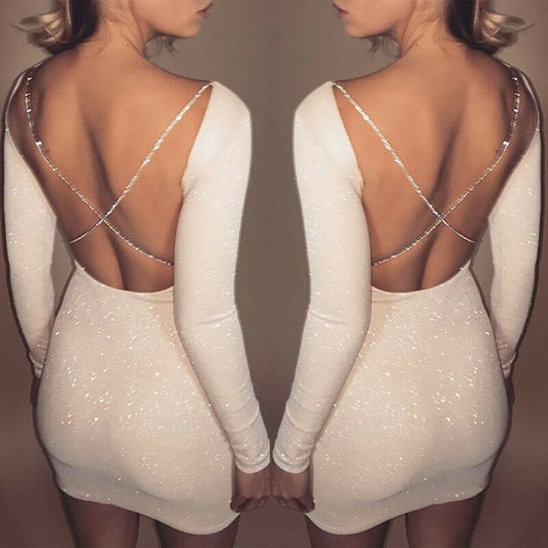 Womens Bodycon Backless Party Cocktail Slim Short Mini Dress