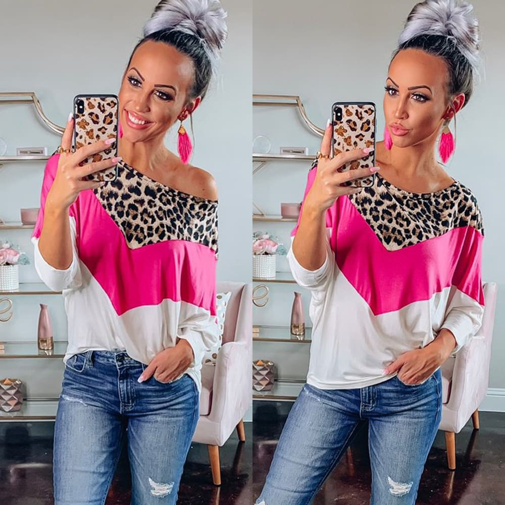 Autumn Women Leopard Print Top Ladies Round Neck Long Sleeve Pullover Sweatshirt Fashion Blouse Loose Shirt