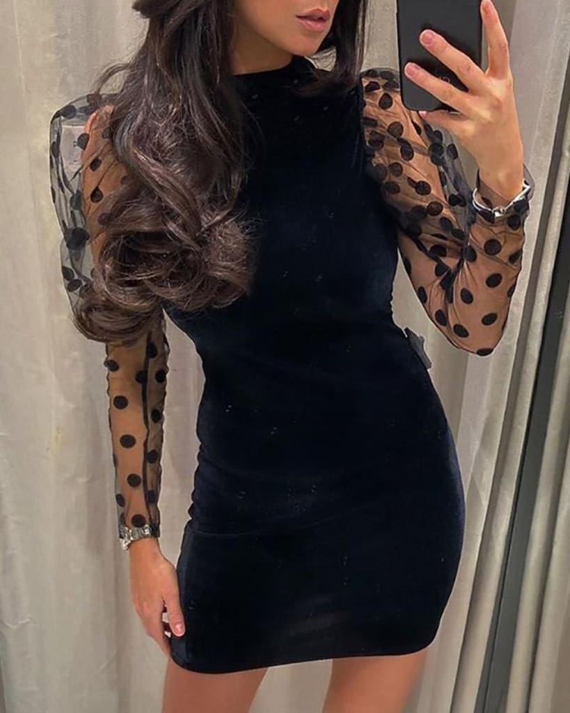 Women Mesh Sheer Long Sleeve Dress Bodycon Backless Party Club Mini Dress Polka Dot Puff Sleeve Slim Dresses