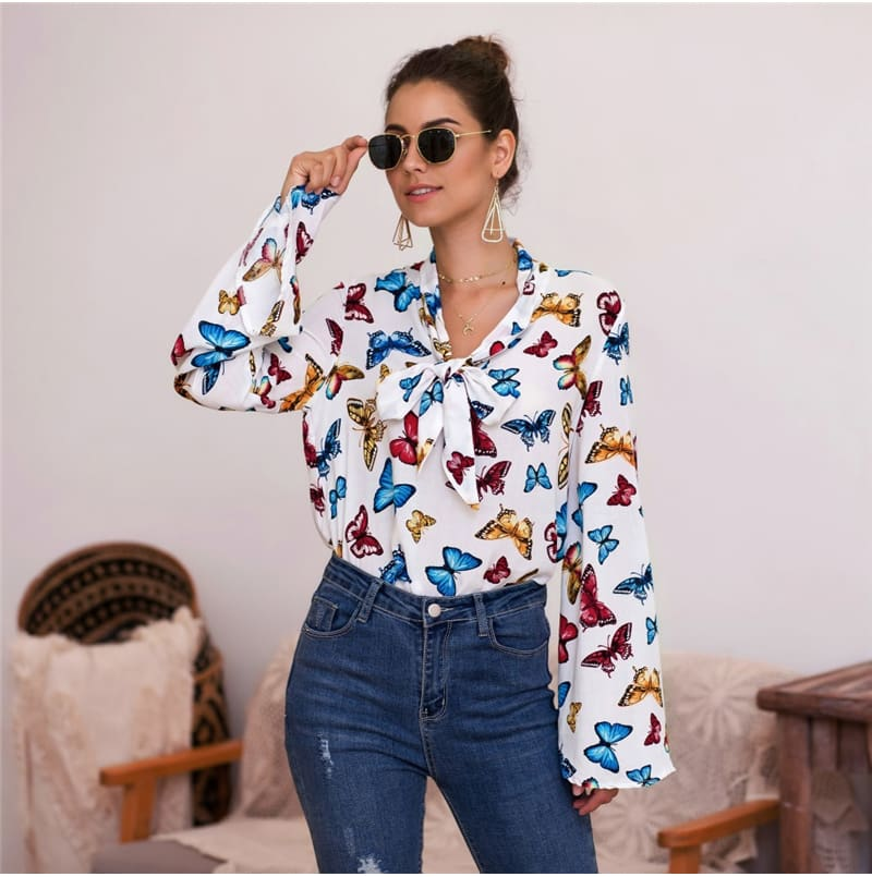 Boho Holiday Women Tops Shirt Elegant Long Sleeve Floral Shirt Ladies Long Sleeve V Neck Loose T shirt Streetwear