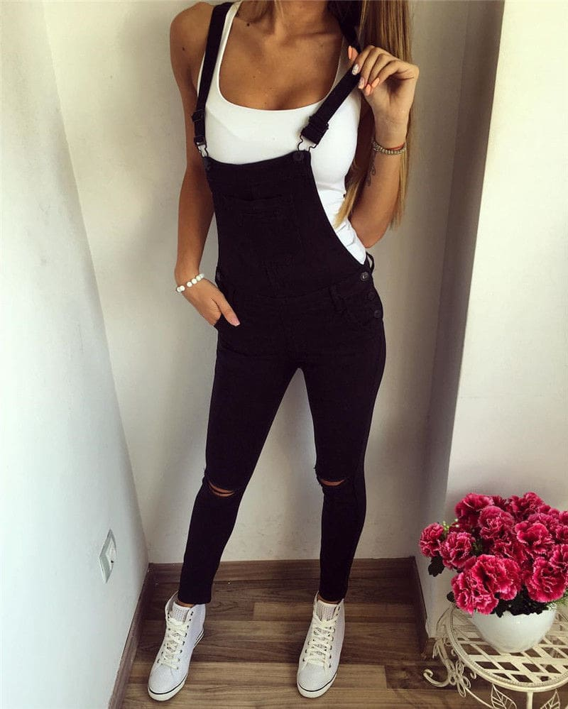 Autumn Womens Jumpsuit Baggy Bib Overall Skinny Hole Black Pants Stylish Ladies Slim Trouser Outwear