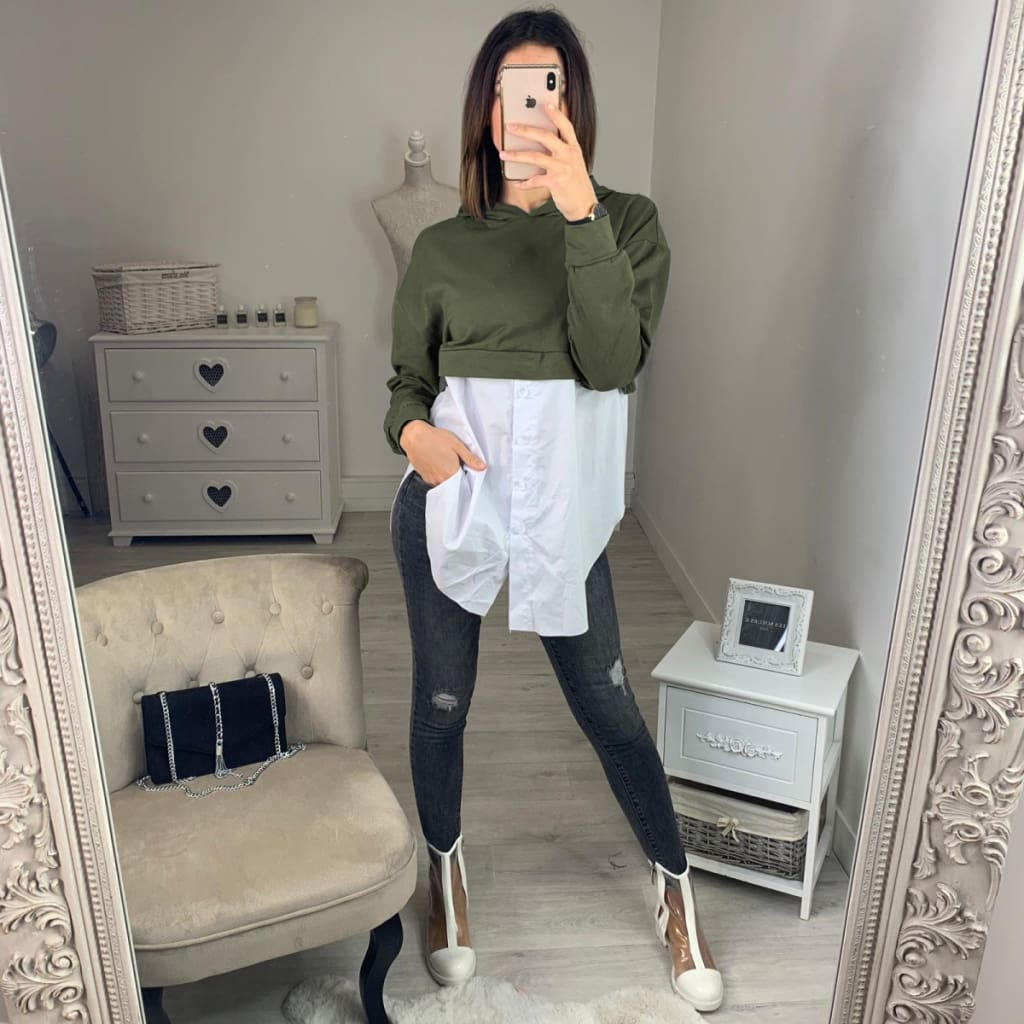 Fashion Women Ladies Long Sleeve Stitching Shirt Tops Hooded Casual Autumn Loose Button Blouse Shirt 2019