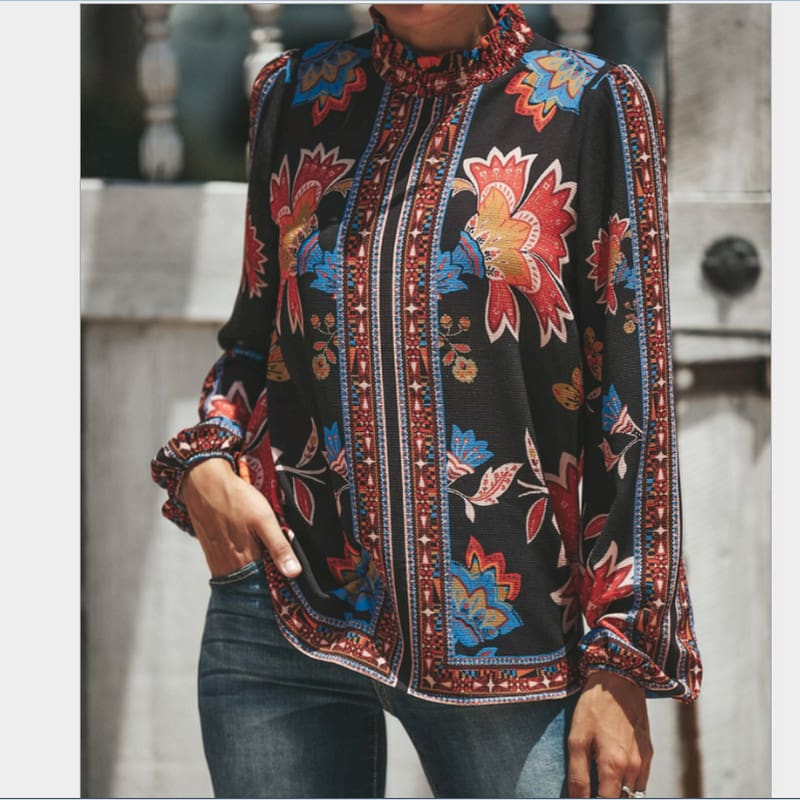 Womens Blouses Fashion Ladies Floral Casual Pattern Ethnic Shirt Women Loose Tops Long Sleeve Blouse