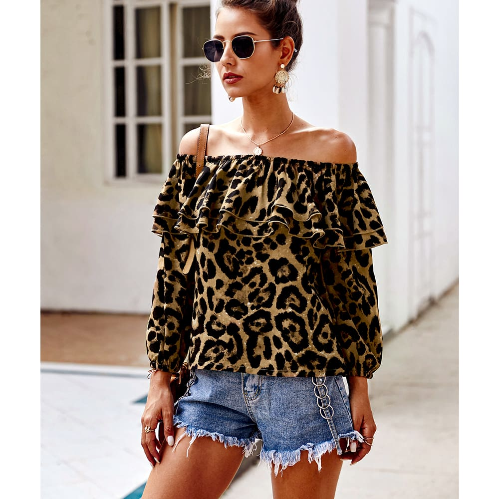 Womens Tops And Blouses Summer Long Sleeve Off Shoulder Ruffles Shirt Blusas Woman Fashion Ladies Tops Leopard Print Tops