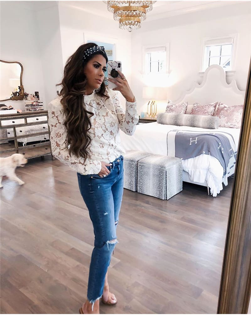Fashion Boho Beach Floral Women Tops Elegant Ladies Long Sleeve Hollow out Lace Shirt Floral Casual Streetwear