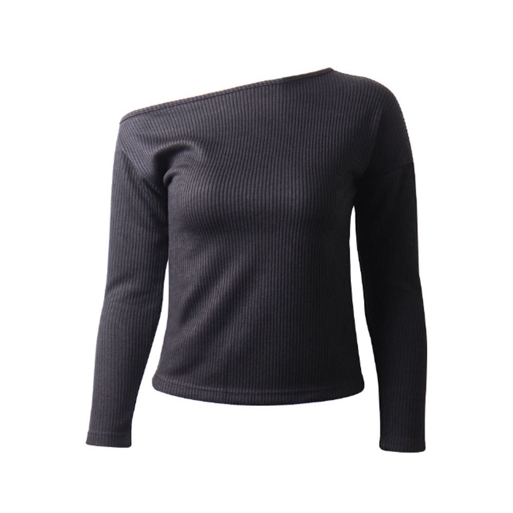Womens Autumn Open Back Long Sleeve Sweater Slim Solid Color Pullover Tops Shirt