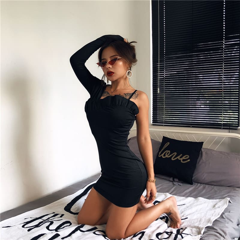 One Shoulder Long Sleeve Bodycon Mini Dress Sexy Ladies Evening Party Clubwear Solid Slim Pencil Dress