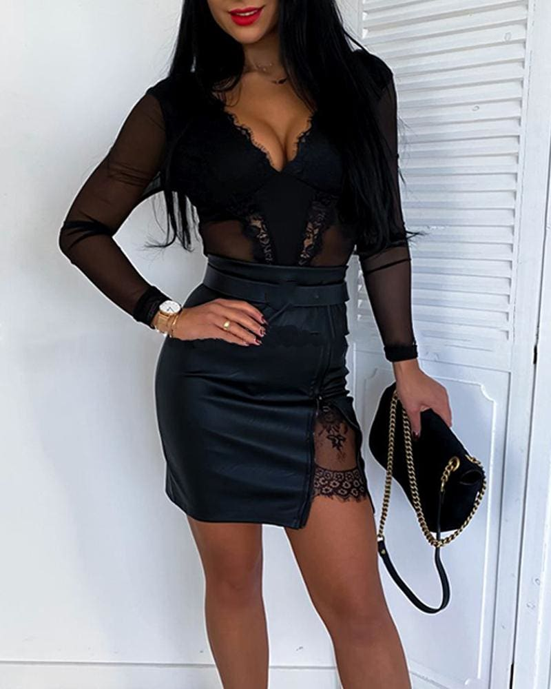 OL Formal Lace Patchwork Bodycon Skirts High Waist Zipper PU Leather Skirts