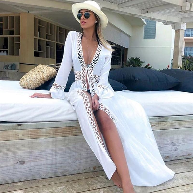 Boho Long Bikini Cover Up Swimwear Beach Bathing Kaftan Maxi Dress