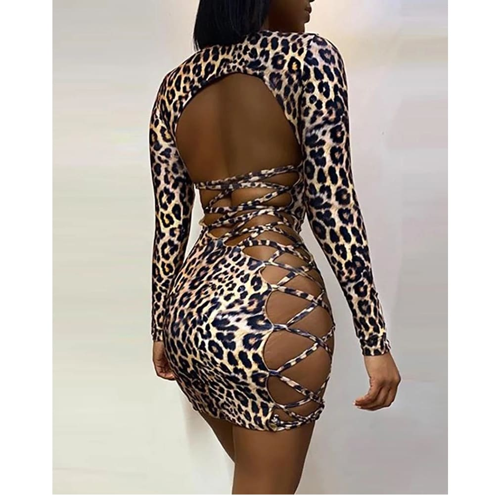 Women Bodycon Backless Dress Sleeveless Ladies Evening Party Club Leopard Slim Mini Sexy Dress