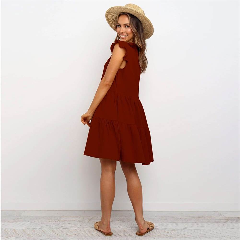 Summer Smock Dress Tops Ladies Holiday Beach Casual Loose Shirt Sundress