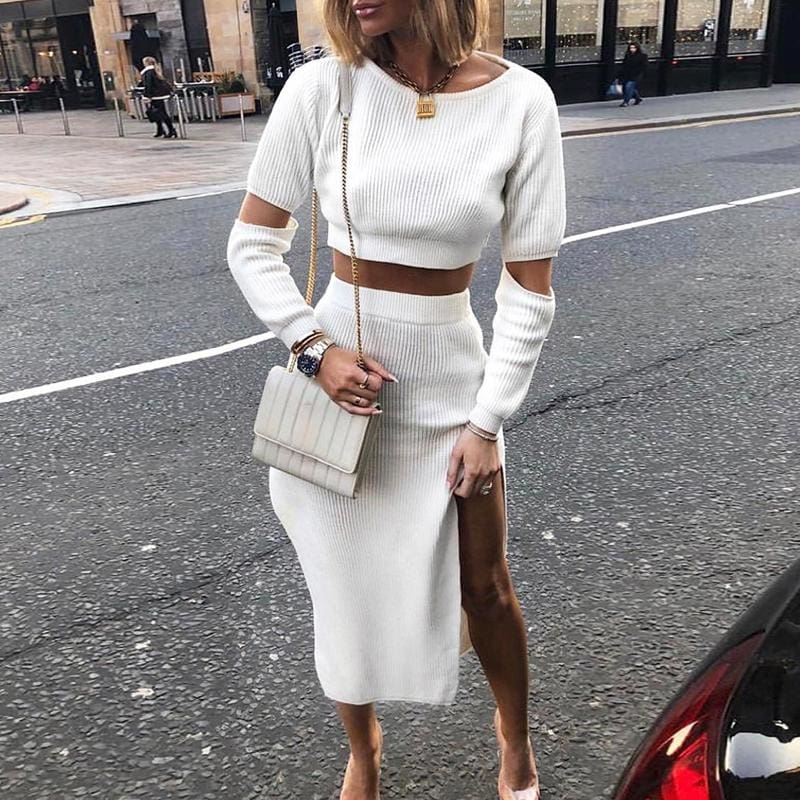 Elegant knitted sweater dress Hollow out two piece suit midi dress