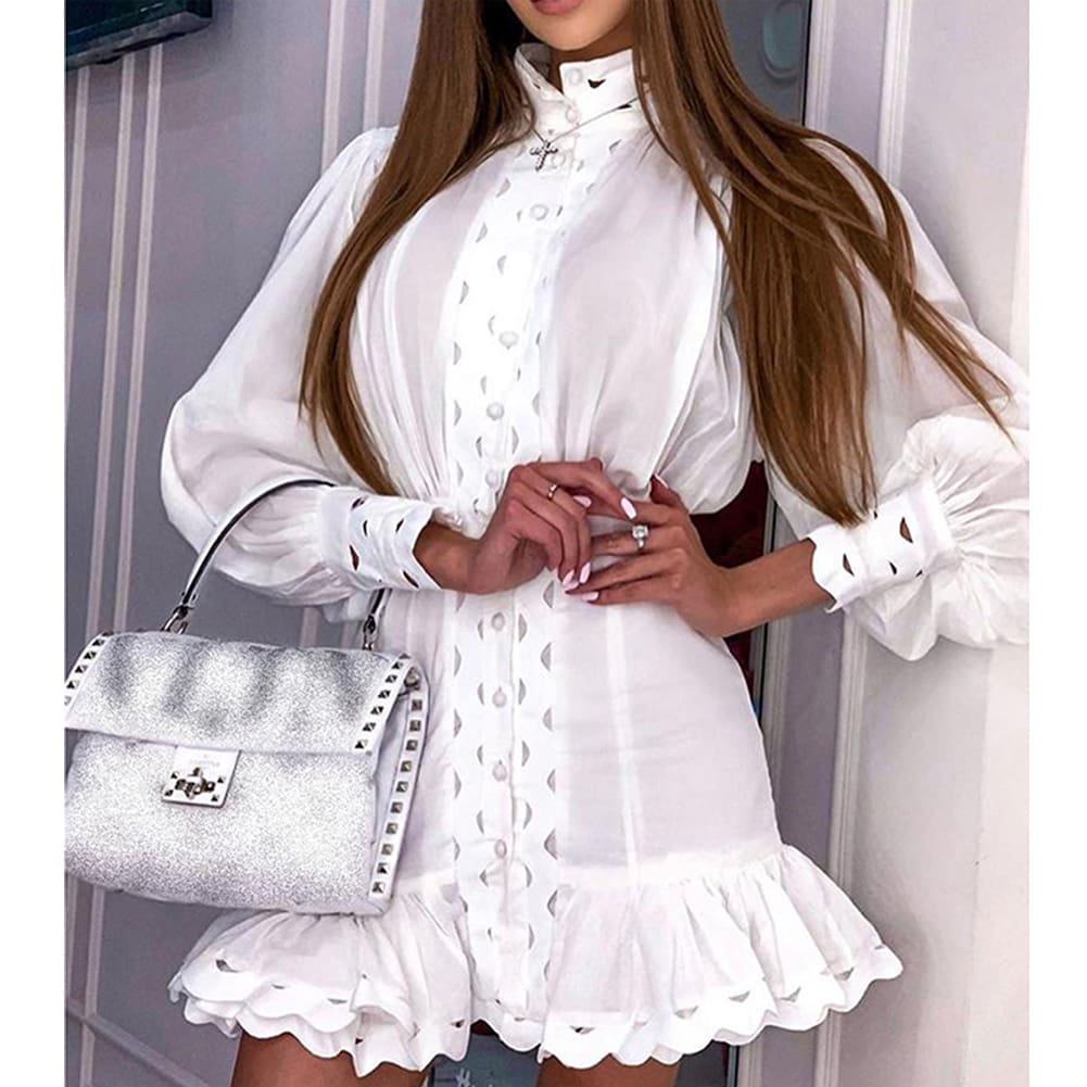 Fahsion Women Autumn Long Sleeve Wrap Party Cocktail Mini Dress