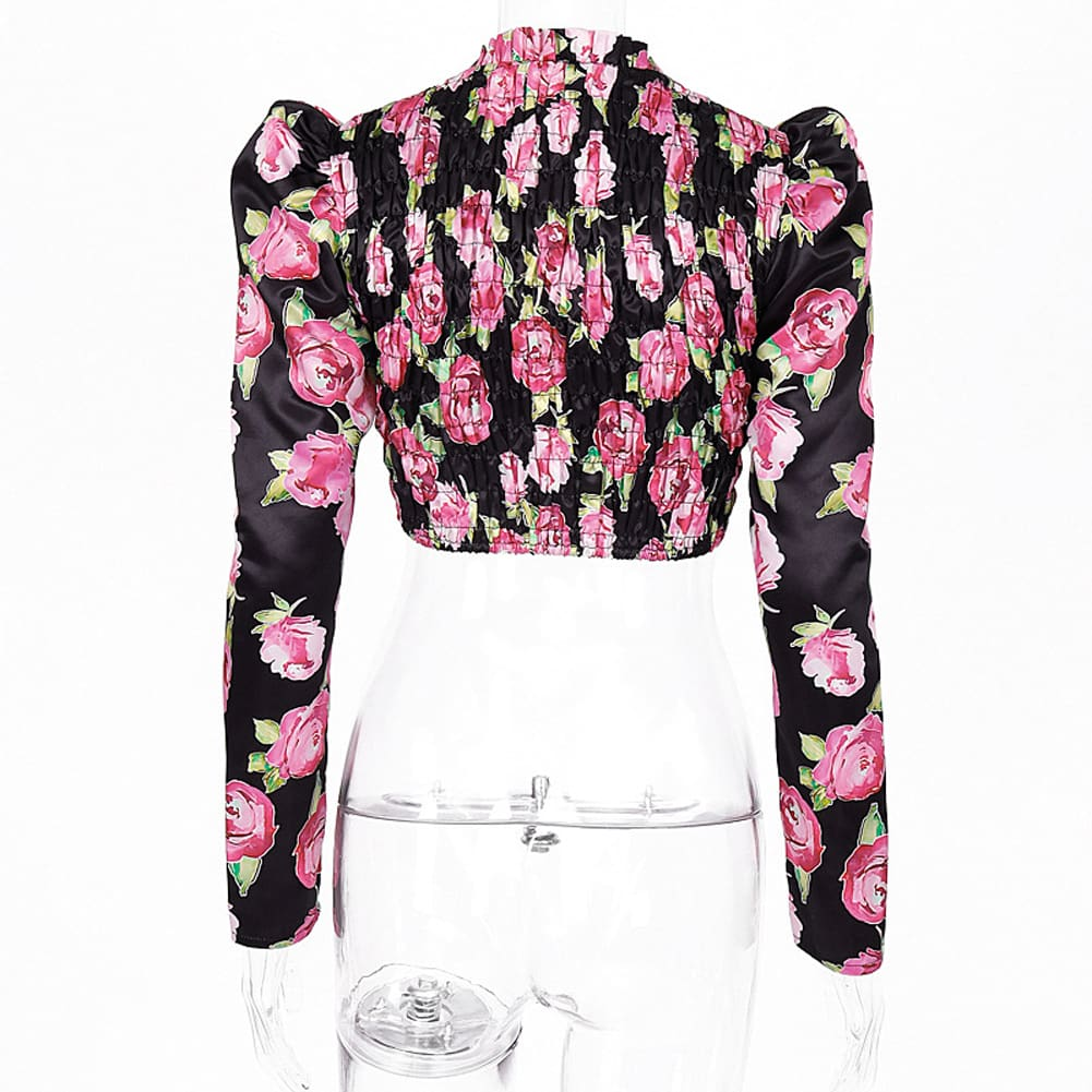 Fashion Boho Floral Women Slim Fit Long Puff Sleeve Crop Tops Ladies Summer Casual Cami Vest Tank Top Blouse Tee Shirt