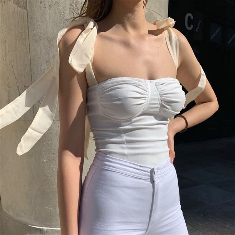 Women Wide Strap Bandage Bust Tank Tops Sexy Bodycon Sleeveless Vest Cami Vest Tube Blouse