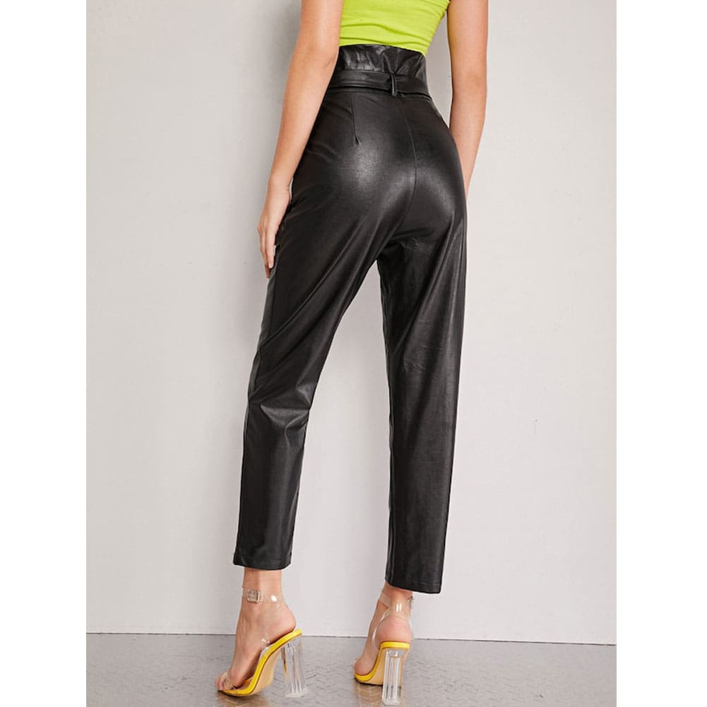 Women PU Leather Pants High Waist Push Up Casual Workout Stretch Skinny Leggings Trousers Bottoms