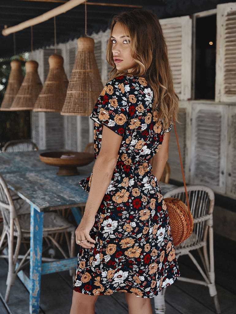 Women Holiday Dress Boho Floral Wrap Short Sleeve Elegant Ladies Summer Beach Party Sundress