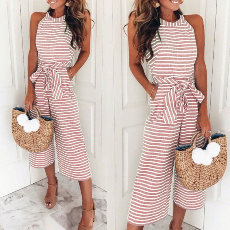 2019 New Fashion Women Stripe Bow Sashes Jumpsuit V-neck Romper Wide Leg Loose Trouser Jumpsuit Holiday Streetwear