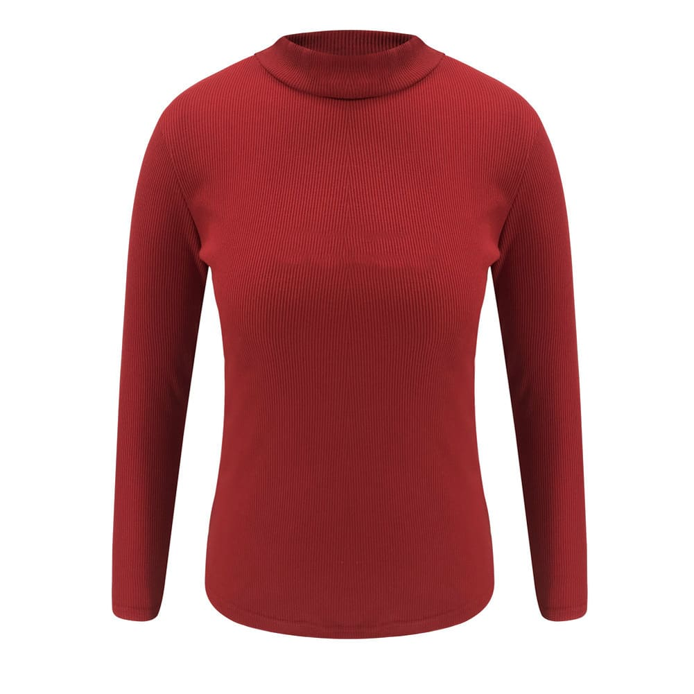 Fashion New T shirt Women Long Sleeve High Neck Tops Solid Color Baggy Casual Shirt Slim Fit Tee Tops