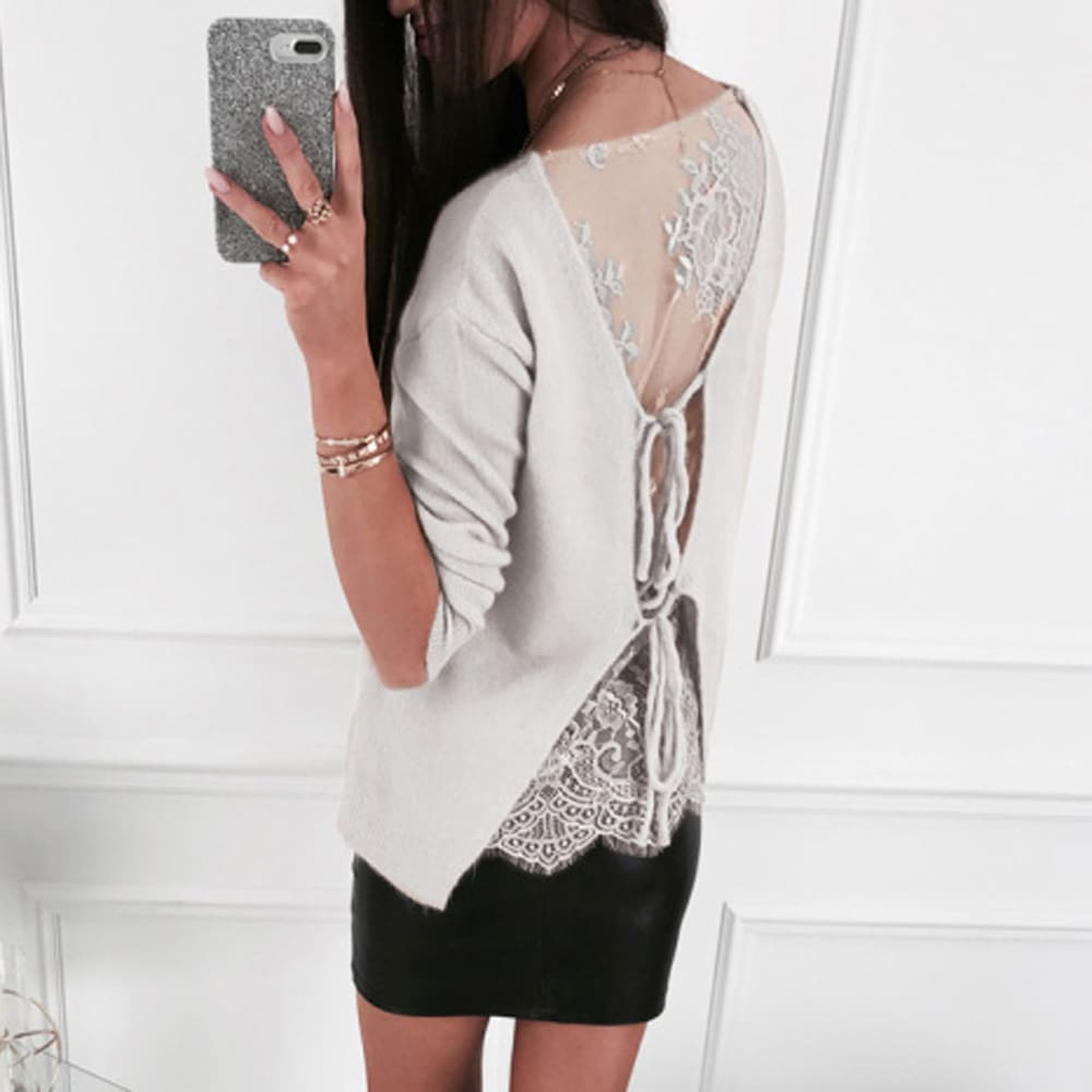 Gothic Lace Up Backless Top Blouse Ladies Slim Fit Jumper Pullover Top Shirt