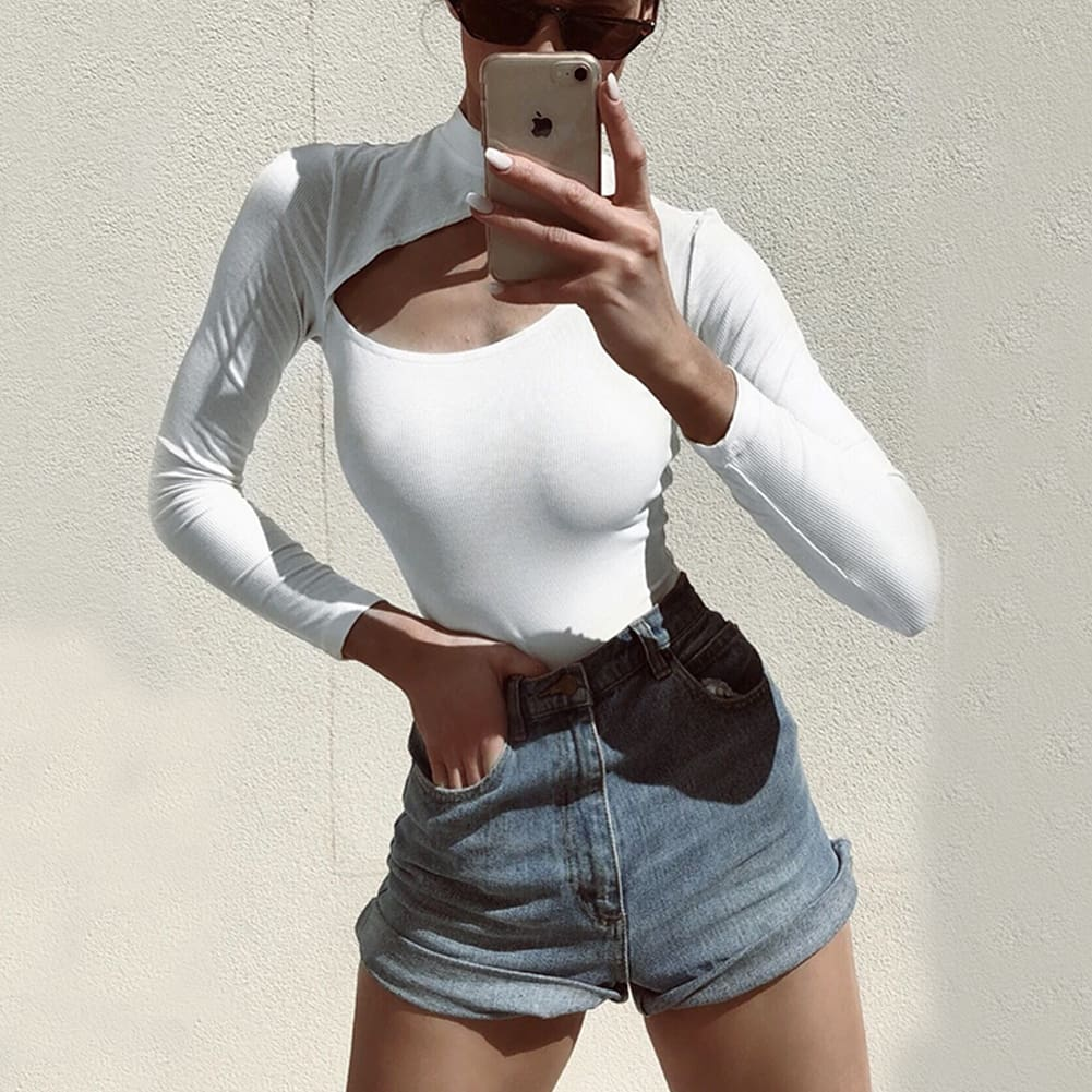 Women Turtleneck Stretch Long Sleeve Leotard Bodysuit Ladies Casual Romper Jumpsuit Top Blouse