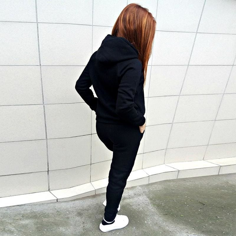 2 Pieces Suit Women Autumn Winter Hoodies Sweatshirt + Pant Sportwear Solid Pocket Tracksuit Set Casual Sweat Suit Jogging Set