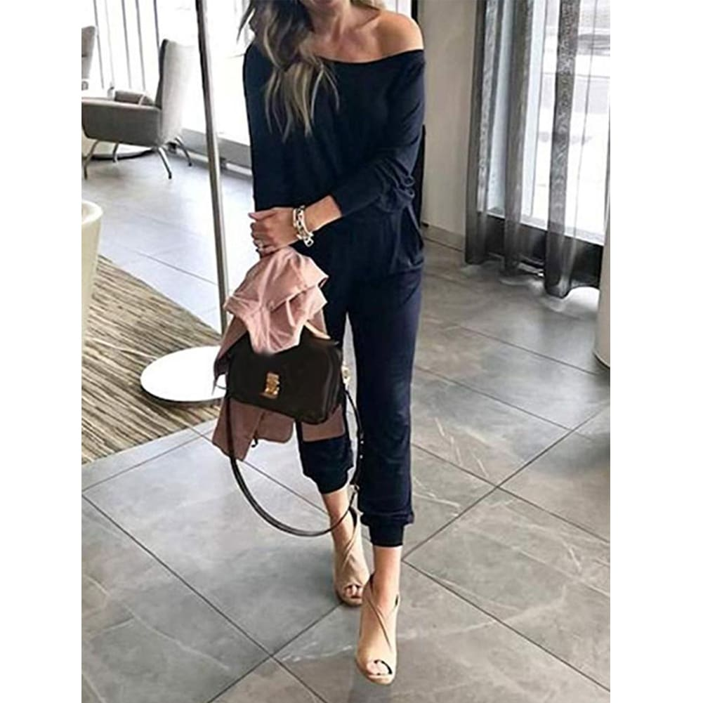 One-Shoulder Long Sleeve Jumpsuit Lady Autumn Soft Loose Playsuit Bodycon Party Trousers Jumpsuit