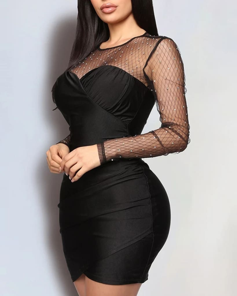Women Lady Mesh Sheer Long Sleeve Bodycon Dress Rhinestone Evening Party Mini Dress