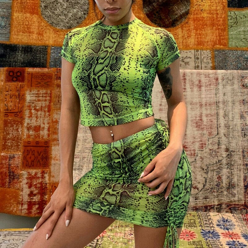 2Pcs Snakeskin Outfits Short Sleeve T Shirt Crop Top Mini Skirt Suits Bodycon New Fashion Summer Casual Women Clothes Sets
