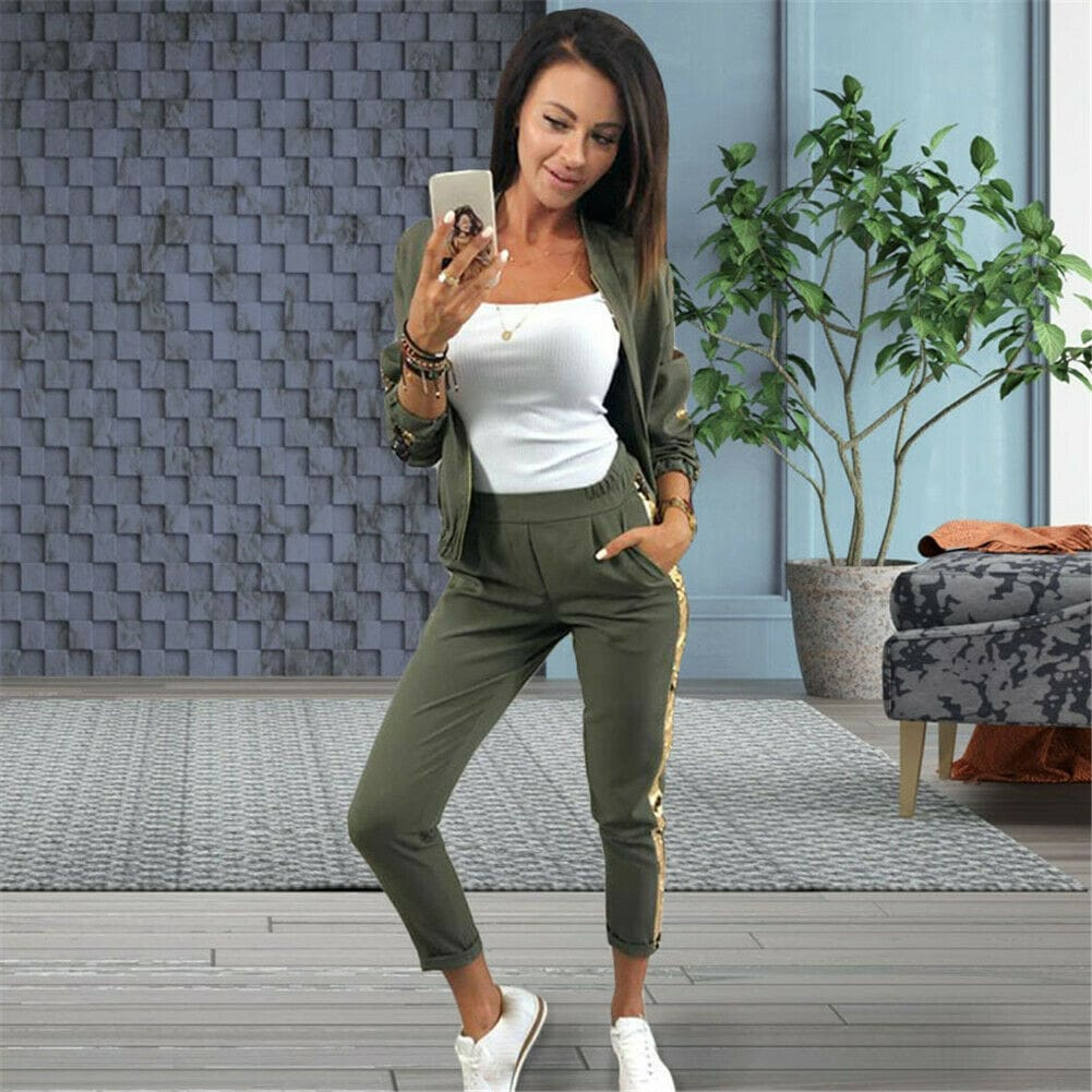 2019 New Fashon Autumn Womens Sportswear 2PCS Female Zipper Top Jackets Coat Long Pants Set Outwear Lady Streetwear Clothes