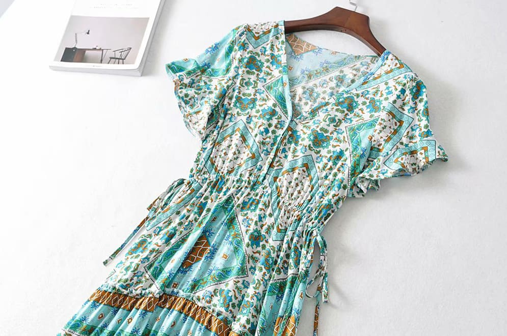 Boho Print Slinky Dress Ladies Expansion Skirt Lace-Up V-neck One-Piece Dress Short Sleeve Tight Dress