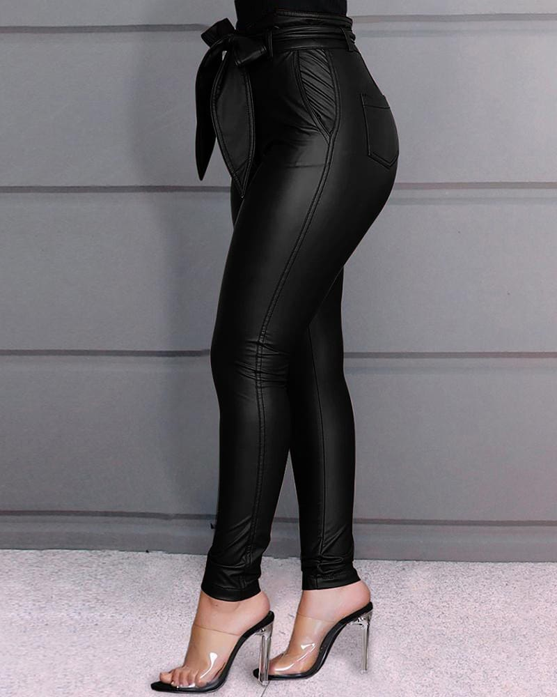Casual Women Ladies PU Leather Pants High Waist Push Up Workout Stretch Skinny Pencil Leggings Trousers