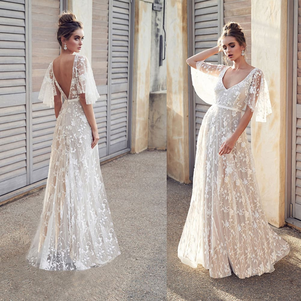 Ball Gown Long Maxi Dress Elegant Womens Evening Formal Party Ladies Bridesmaid Lace Maxi Dress