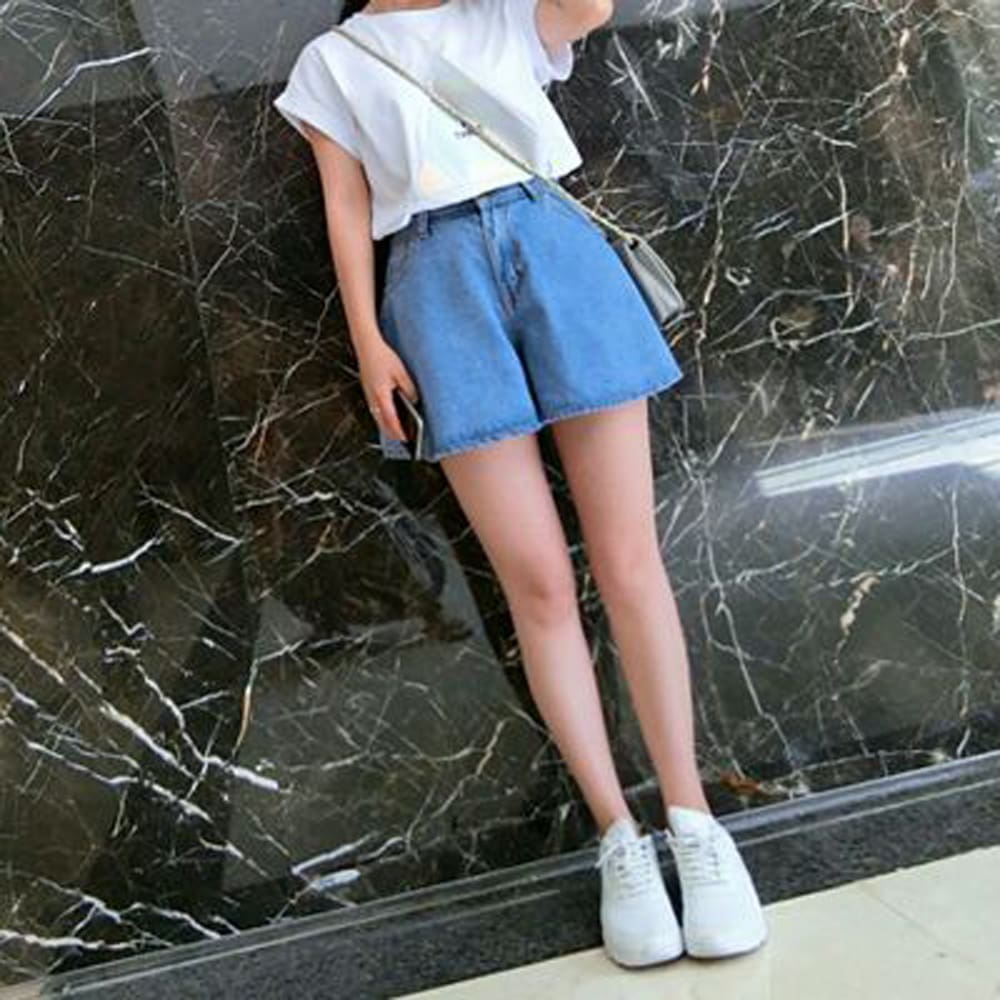 Fashion Women Denim Shorts Summer Casual Loose Flare Short Jeans High Waist Solid Casual Shorts Trousers