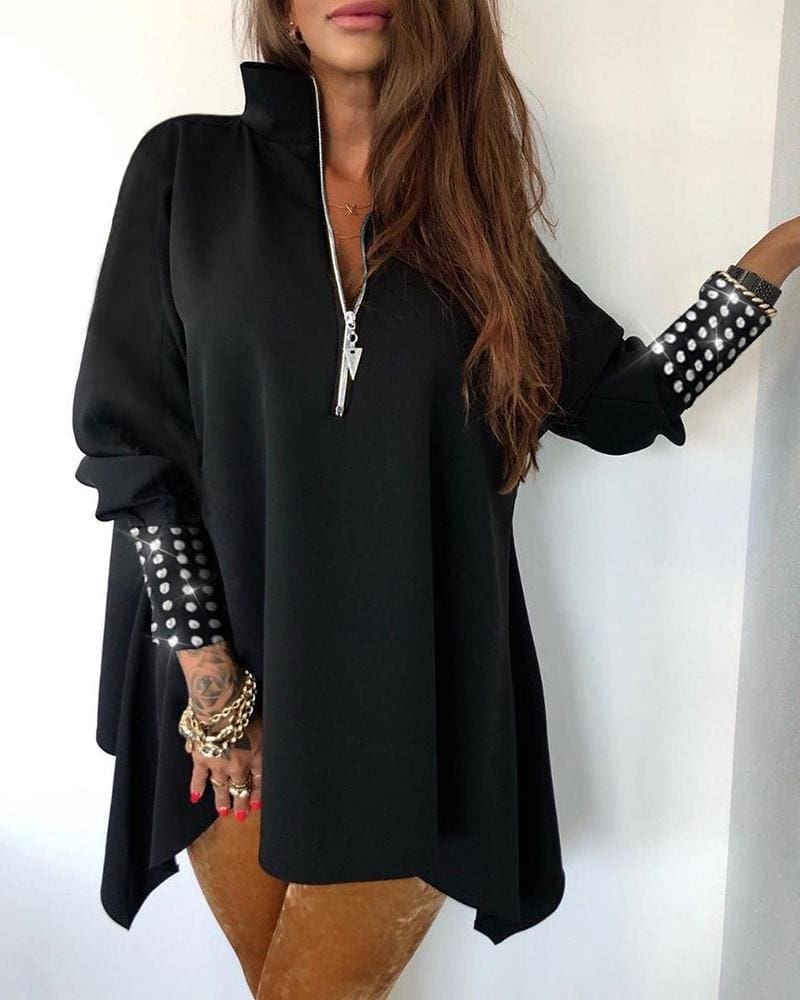Blouse Women Womens tops and Blouses Plus Size Zipper Shirt Fashion Loose Blouse Sequins Long Sleeve Tops Clothes tunic