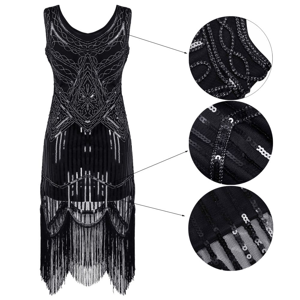 Elegant Womans Hand-Woven Dress Ladies Party Sequins Tassel Ball Gown Evening Prom Retro