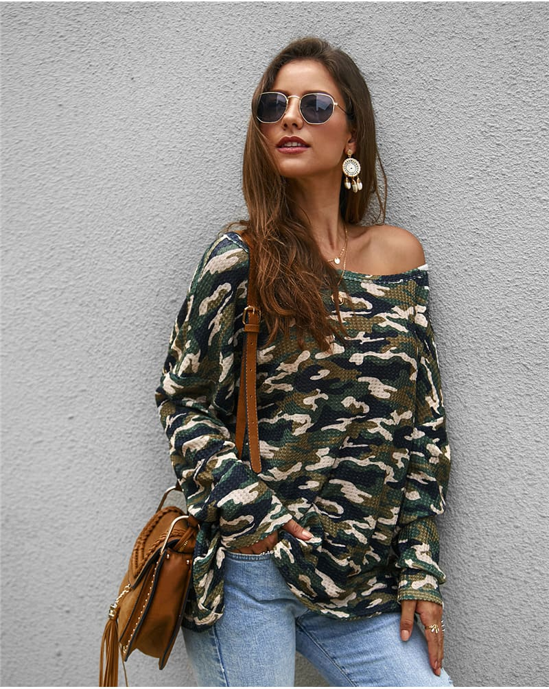 Fashion Women Autumen Tops Shirt Long Sleeve Loose Elegant Ladies Camouflage Shirt Fashion Camo Outwear Streetwear