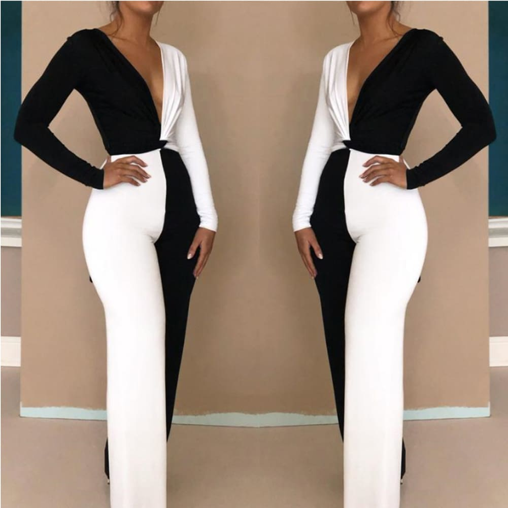 Elegant Women Clubwear Sexy 2 Pcs Set Patchwork Playsuit Bodycon Party Jumpsuit Romper