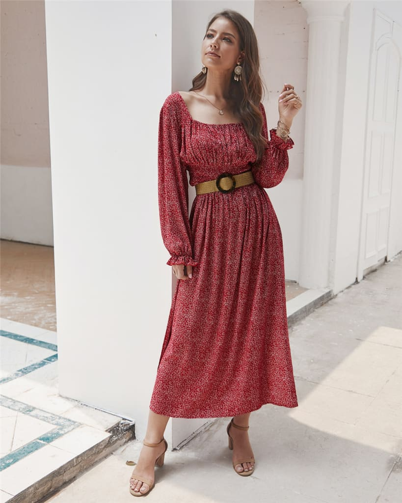 2019 Fashion Trend Women Ladies Long Sleeve Square neck Autumn Dress Floral Autumn Pre-fall Holiday Long Maxi Dress