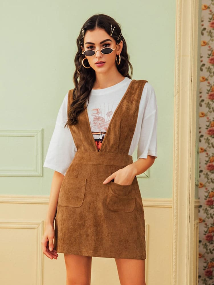Autumn Winter Women Double Pocket Corduroy Suspender Skirt Ladies Casual Frill Ruffle Elastic High Waist Skirt