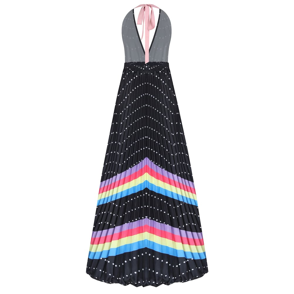 Bohemian Summer Dress Rainbow Print Casual Maxi Dress For Women Boho Dresses Off Shoulder Long Beach Vestidos Sexy Sundress