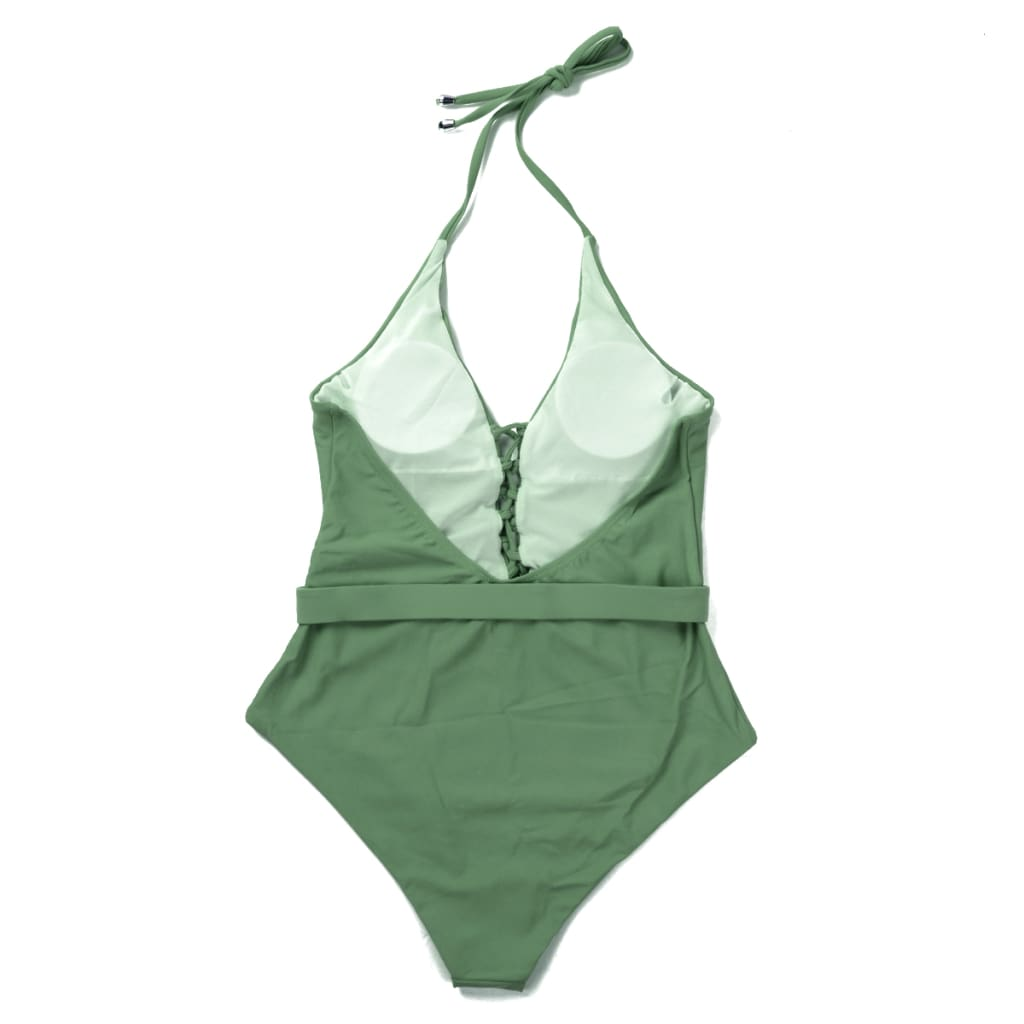 One Piece Swimsuit Solid Beach Bandage Bathing Suits Women Swimming Suit