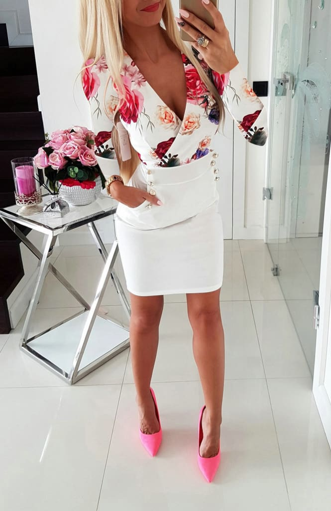 Deep V Neck Dress Womens Sexy Floral Long Sleeve Bodycon Dress Fashion Lady Flowers Patchwork Short Dress