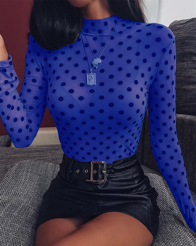 Black Mesh See through Polka Dot Print T-shirt Fashion Spring Women Long Sleeve High Neck T-shirt Party Club Top Tees