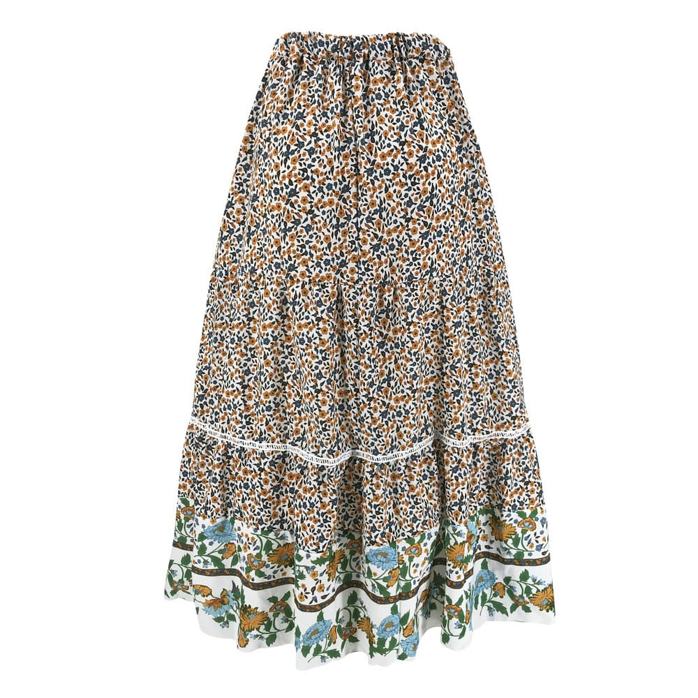Women Stretch High Waist Floral Print Long Skirt Maxi Beach Casual Boho Polyester Ankle-length Skirt