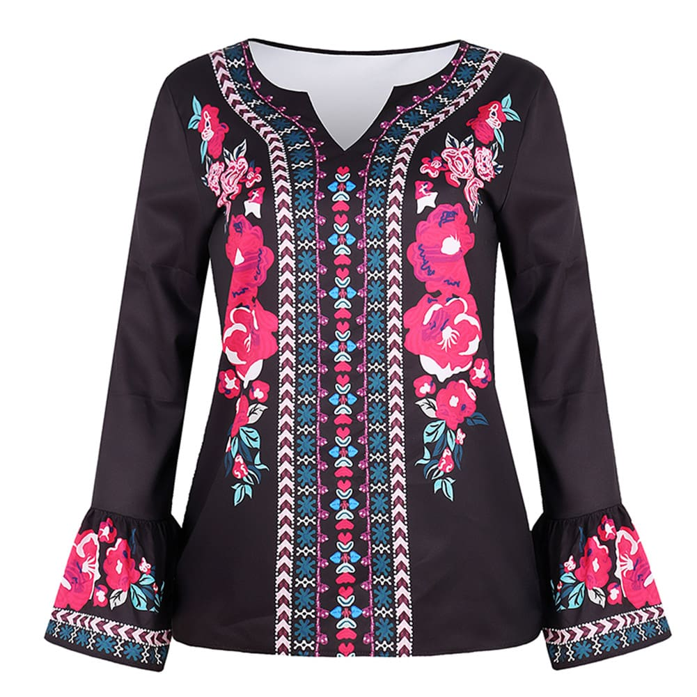 Fashion Women Boho Floral Long Sleeve Baggy V Neck Loose Blouse Autumn Ladies Casual Jumper Tops Plus Size